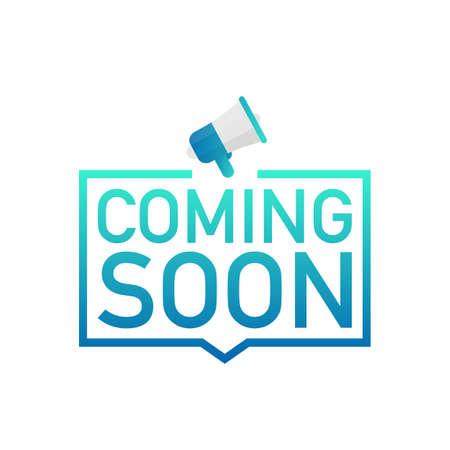 Illustration pour Hand holding megaphone - Coming soon. Vector stock illustration. - image libre de droit