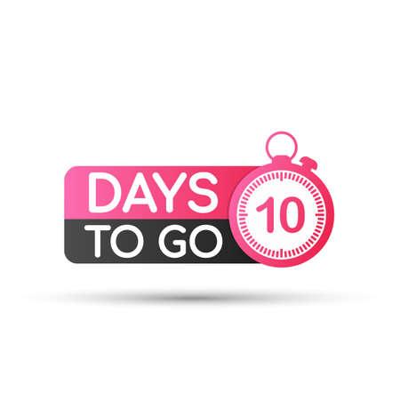 Illustration pour Ten Days To Go Badges or flat Design. Vector stock illustration. - image libre de droit