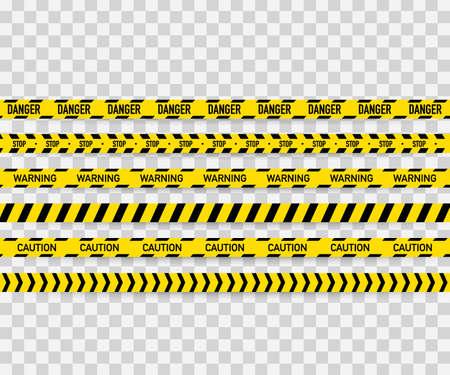 Illustration pour Vector set of seamless caution tapes. Warning tape, danger tape, caution tape, danger tape, under construction tape. - image libre de droit