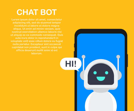 Illustration pour Chatbot banner concept. Horizontal business banner template with illustration of man chatting with chat bot in smartphone. - image libre de droit