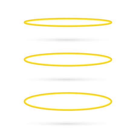 Set Halo angel ring . Holy golden nimbus circle isolated on white background. Vector stock illustration.