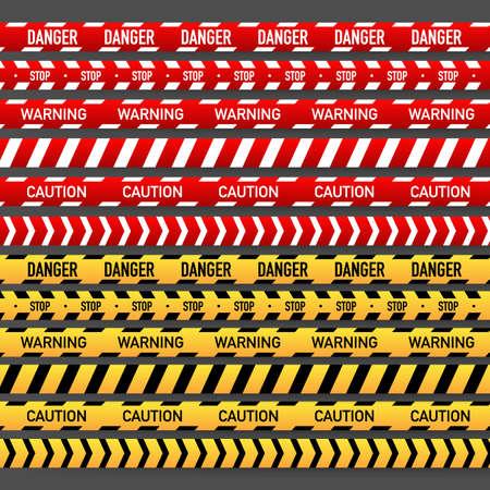 Illustration pour Set Red and yellow police stripe. Vector stock illustration - image libre de droit