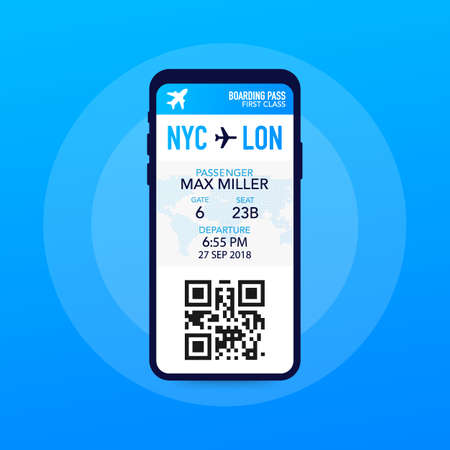 Ilustración de Tickets for the plane on a smartphone. Vector stock illustration. - Imagen libre de derechos