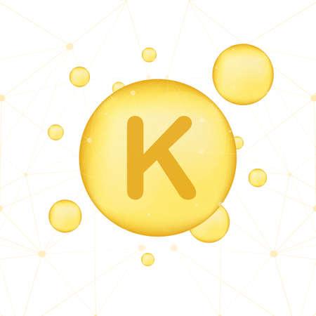 Illustration pour Vitamin K gold shining icon. Ascorbic acid. Vector stock illustration - image libre de droit