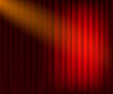 Illustration for Entertainment curtains background for movies. Beautiful red theatre folded curtain drapes on black stage. Vector stock illustration. - Royalty Free Image