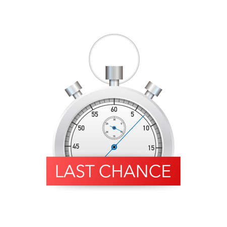 Illustration pour last chance and last minute offer with clock signs banners, business commerce shopping concept. Vector stock illustration. - image libre de droit