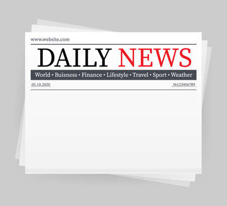 Illustration pour Vector mock up of a blank daily newspaper. Fully editable whole newspaper in clipping mask. Vector stock illustration, - image libre de droit