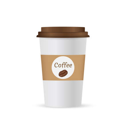 Ilustración de Close up take-out coffee with brown cap and cup holder. Isolated on white background. Vector Illustration - Imagen libre de derechos