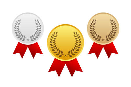 Illustration pour Gold, Silver and Bronze Award Medal Icon. Vector stock illustration. - image libre de droit