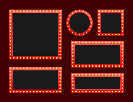 Illustration for Set Retro lightbox billboard vintage frame. Lightbox with customizable design. Classic banner for your projects or advertising. Vector stock illustration. - Royalty Free Image