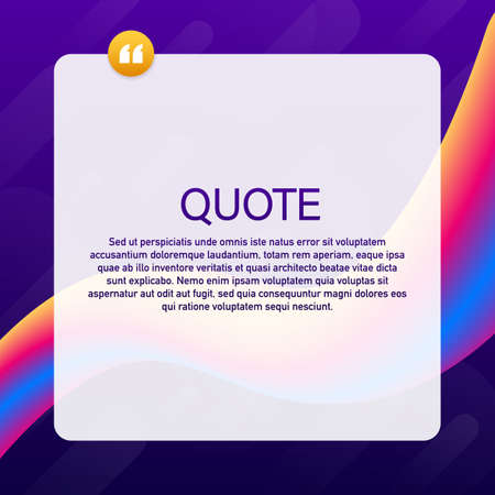 Illustration pour Quote background vector. Creative Modern Material Design Quote template. Vector stock illustration - image libre de droit