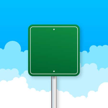 Illustration pour Road signs on blue background. Vector stock illustration - image libre de droit