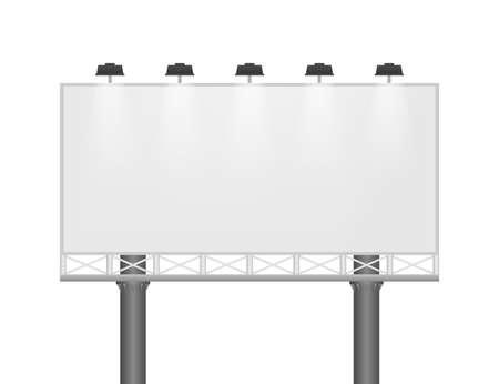 Illustration pour Billboard on light background. Empty white vector horizontal poster template. Template for marketing design. Vector stock illustration. - image libre de droit