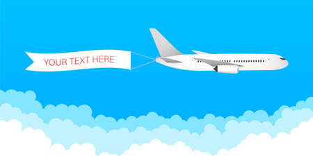 Illustration for Airplane banner in flat style. Speed airplane aircraft jet with advertising banner ribbon in the cloudy sky. Vector stock illustration. - Royalty Free Image