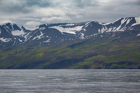 View of the Mountains in Husavik area, Iceland.