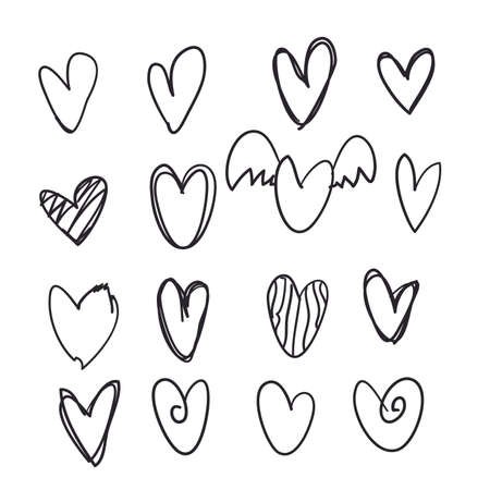 Photo pour set of hand drawn doodle heart icon collection for web site, poster,placard,wallpaper and Valentine's day. - image libre de droit