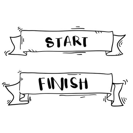 Illustration pour handdrawn start and finish line banners, streamers, flags for outdoor sport event - competition race, run with doodle cartoon style - image libre de droit