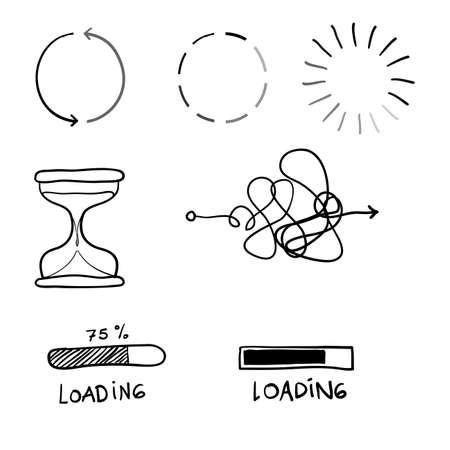 Illustration pour doodle loading proces illustration with handdrawn line vector - image libre de droit