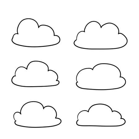 Illustration pour Cloud icon with hand drawn doodle cartoon style illustration isolated on white background - image libre de droit
