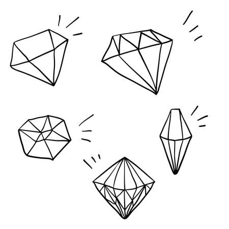 Illustration pour doodle diamond illustration vector with hand drawn cartoon style vector - image libre de droit