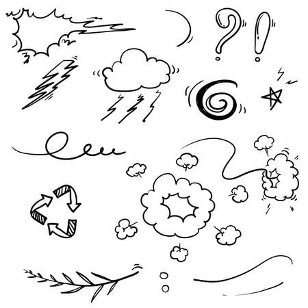 Illustration for hand drawn doodle element illustration collection vector isolated - Royalty Free Image