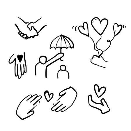 Illustration pour hand drawn doodle illustration icon symbol for Care, generous and sympathize icon set in thin line style vector - image libre de droit
