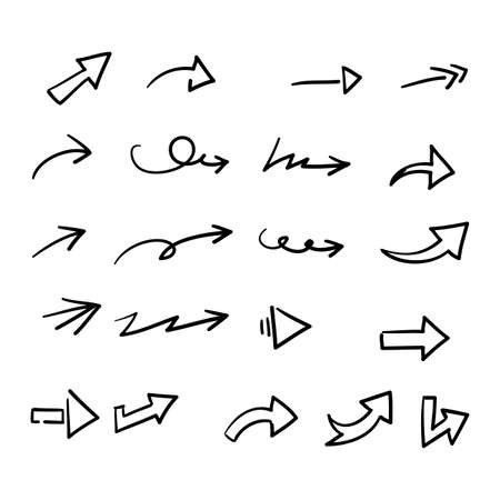 Illustration for hand drawn doodle arrow collection icon vector - Royalty Free Image