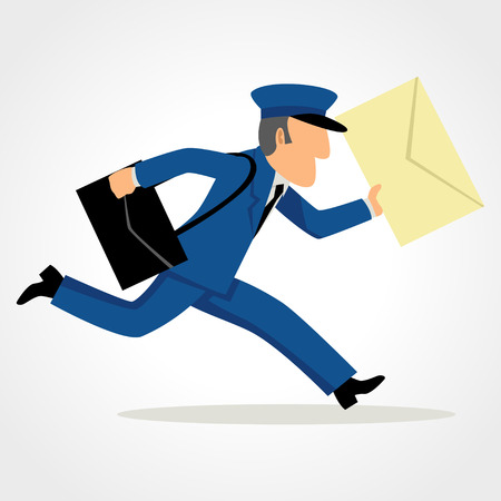 Illustration pour Simple cartoon of a postman running delivering mail. Speed, express, service concept and theme - image libre de droit
