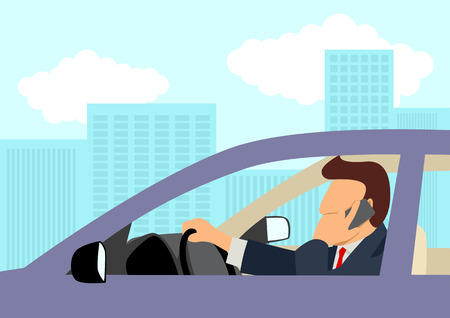 Simple cartoon of a businessman using cellular phone while driving a car