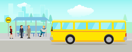 Illustration for Simple cartoon of people waiting at the bus stop with cityscape as the background - Royalty Free Image