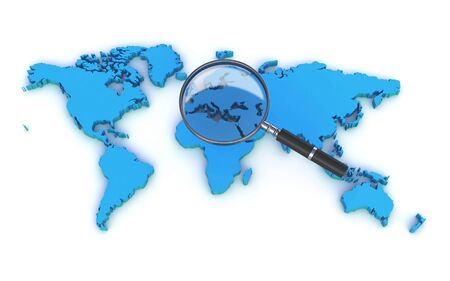 world map and a magnifying glass