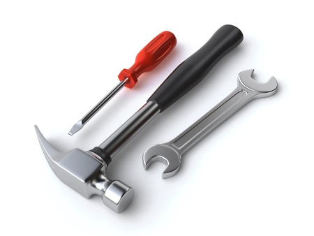 hammer, wrench and screwdriver