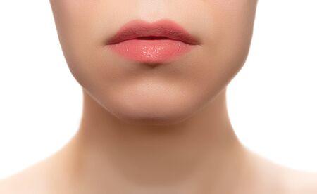 Photo pour Female lips with sparkle lipstick close up - image libre de droit