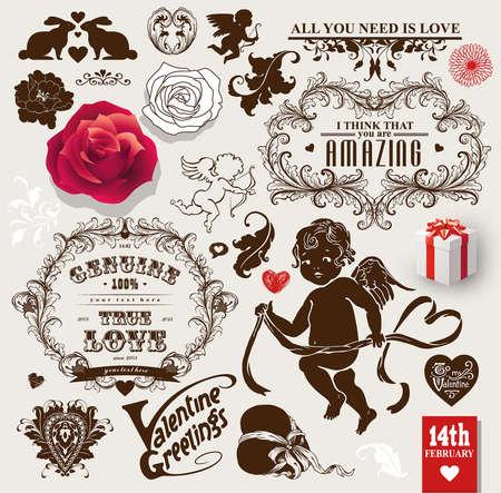 Ilustración de Valentines vector vintage set of frames, flowers and symbols of love - Imagen libre de derechos