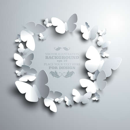 wreath made of white paper butterflies with free space for your text in the middle