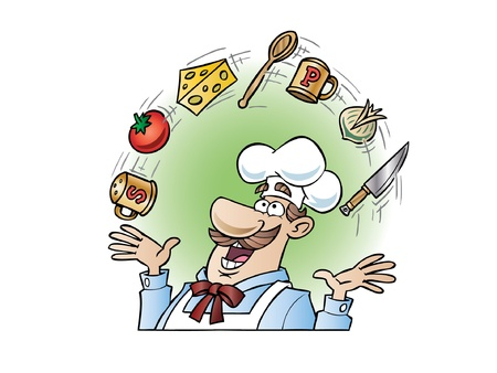 Chef juggling utensils and food items