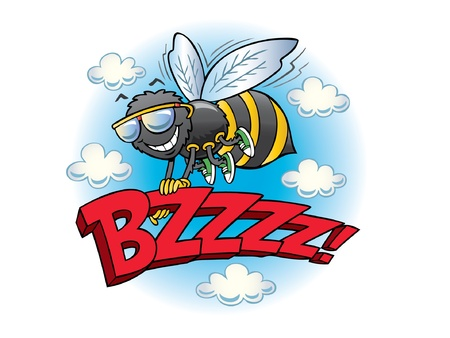 Flying bumblebee holding the word buzz