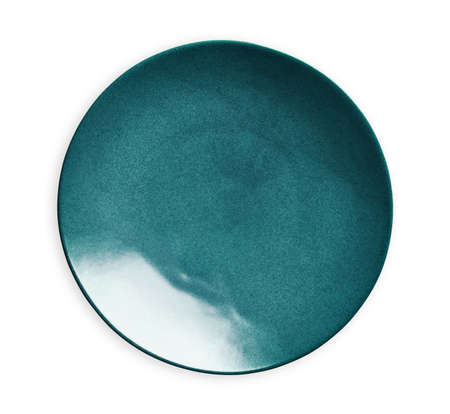 Photo pour Blue ceramic plate, Empty plate with marble texture, isolated on white background with clipping path, Top view - image libre de droit