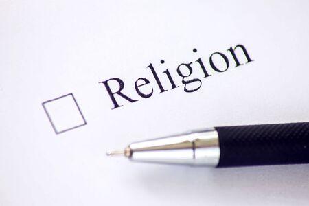 Photo pour Checklist with a word Religion on white paper. Checkbox concept. - image libre de droit