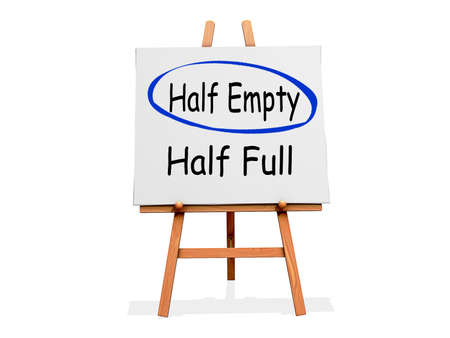 Art Easel on a white background with Half Empty circled instead of Half Full