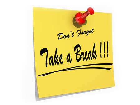 Photo pour A note pinned to a cork board with the text Don't Forget Take a Break. - image libre de droit