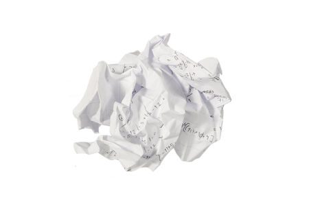 crumple paper isolated on whte