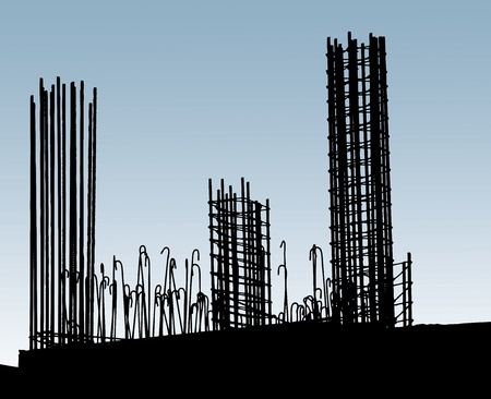 Reinforcing steel in construction site. Horisontal image