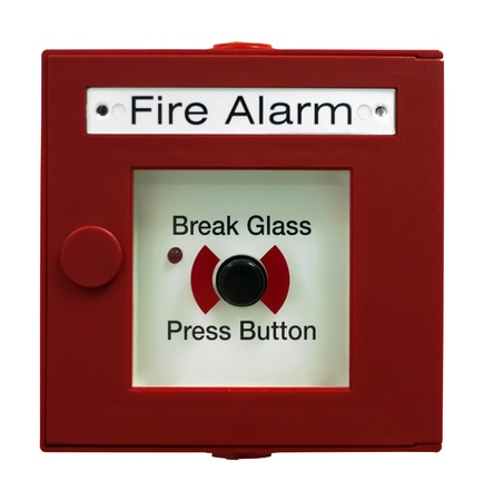 Fire alarm button. White isolated