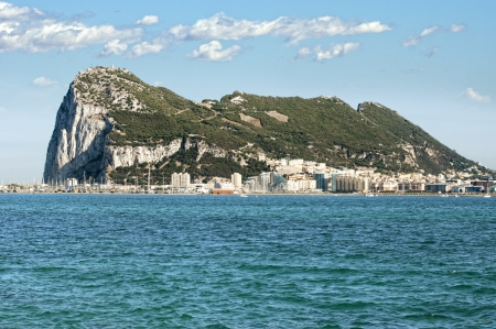 The rock of Gibraltar and the sea