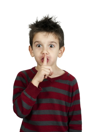 Little boy showing silence symbol