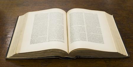 Photo pour Open old big book. French encyclopedia. - image libre de droit