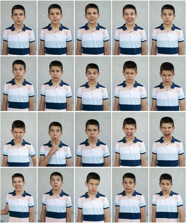 Photo pour Child faces. Many faces showing emotions and expressions. Teenager face countenance. - image libre de droit
