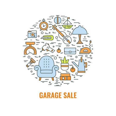 Illustration for Garage sale sign. Template for poster, banner, flyer. Yard sale flyer template. Vector line style  illustration. - Royalty Free Image