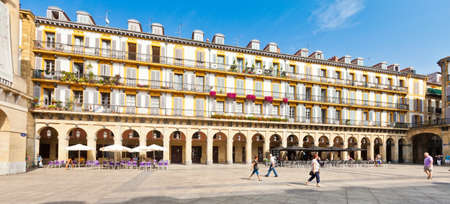 Plaza de la Constitucion in San Sebastian, Spain. Surrounded by buildings with high arcades, this was used as the arena for the first bull races in San Sebastian.